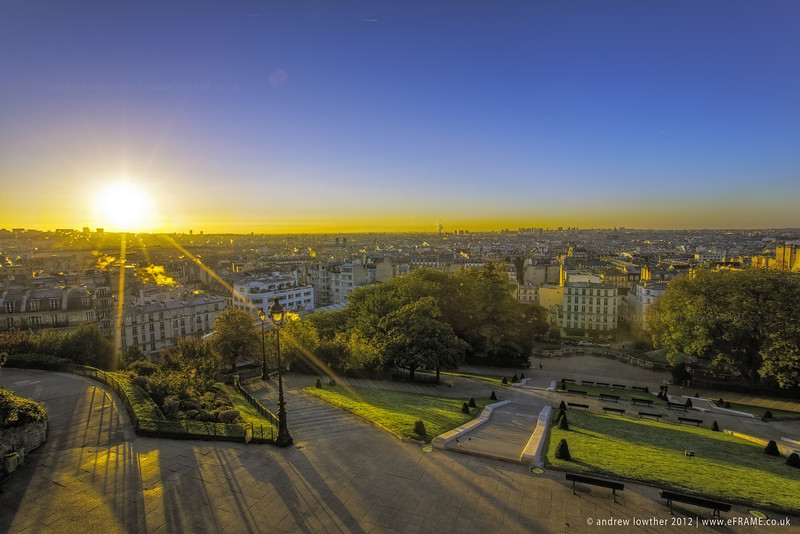 This is the view from the steps of Sacre Coeur looking ovet the Paris cityscape at about 7am one cold Autumn morning.